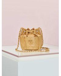 Chanel | Vintage Beige Leather Bucket Bag | Lyst