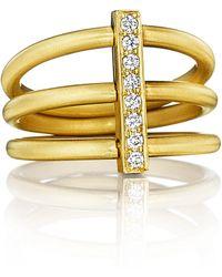 Carelle - Moderne 18k Three-row Diamond Bar Ring - Lyst