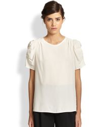 Marc Jacobs Crepe De Chine Gathered Blouse - Lyst