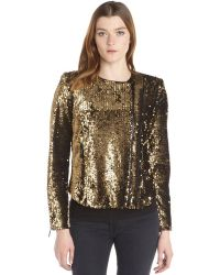 Rachel Zoe Gold Stretch Woven Sequined Asymmetrical Zip Up Clancy Jacket - Lyst