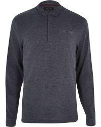 River Island Dark Grey Long Sleeve Polo Shirt - Lyst