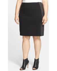 Lyssé - 'minetta' Faux Leather & Ponte Pencil Skirt - Lyst