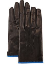 Portolano Perforated Leather Gloves - Lyst