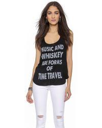 Haute Hippie Music & Whiskey Racer Back Tank - Black/Swan - Lyst