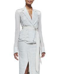 Donna Karan New York Contrast-Sleeve Blazer W/ Grosgrain Belt - Lyst
