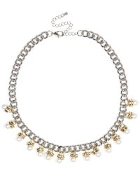 River Island Silver Tone Pearl Repeat Necklace - Lyst