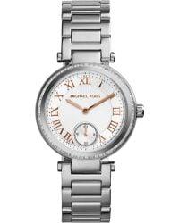 Michael Kors Mini Skylar Stainless Steel Glitz Bracelet Watch - Lyst