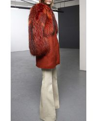 Giambattista Valli Tanuky And Tweed Coat - Lyst