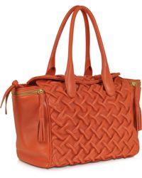 FORZIERI - Orange Pleated Leather Tote - Lyst
