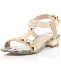 River Island Pink Stud T-Bar Sandals - Lyst