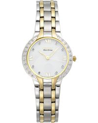 Citizen Women'S Eco-Drive Diamond Accent Two-Tone Stainless Steel Bracelet Watch 29Mm Em0124-57B - A Macy'S Exclusive - Lyst