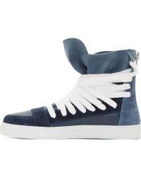 Kris Van Assche Blue Suede Wraparound Lace_Up High_Top Sneakers - Lyst