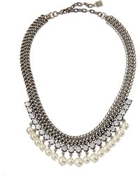 DANNIJO - Serafina Pearly Crystal Chain Necklace - Lyst