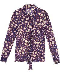 Saint Laurent Star-Print Silk-Chiffon Blouse - Lyst