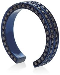 Maison Dauphin - Blue Rhodium And Black Diamond Double Row Band - Lyst
