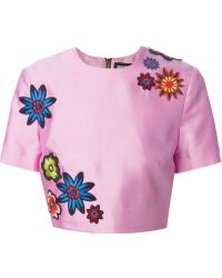House of Holland Cropped Flower Blouse - Lyst