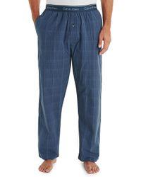 Calvin Klein Blue Plaid Print Woven Pyjama Pant - Lyst