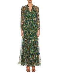Saloni Alexia Palmier-Print Silk-Georgette Dress multicolor - Lyst