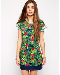 Bellfield Tropical Print T-Shirt Dress - Lyst