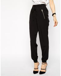 Asos Woven Cuffed Pants With Zip black - Lyst