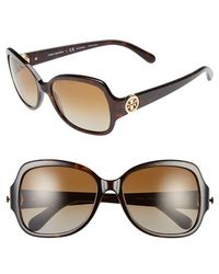 Tory Burch 57Mm Polarized Butterfly Sunglasses - Dark Tortoise/ Polar - Lyst