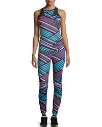 Pink Lotus - Dj Striped Seamed Moto Leggings - Lyst