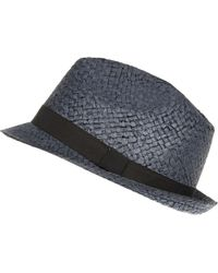 River Island Navy Natural Straw Trilby Hat - Lyst