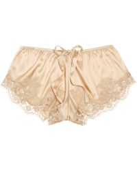 Dolce & Gabbana Lace Trimmed Stretch Silk Satin Shorts - Lyst