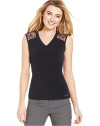 Calvin Klein Lace-Inset Tank Top - Lyst