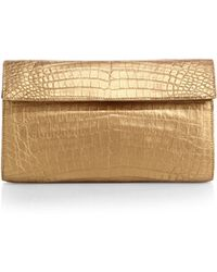 Nancy Gonzalez Small Metallic Crocodile Flap Clutch - Lyst