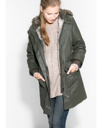 Mango Faux-fur Quilted Parka - Lyst