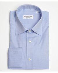 Saint Laurent Dark Blue Textured Cotton Point Collar Dress Shirt - Lyst
