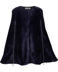 Ardent & Co - Navy Stretchy Faux Fox Fur Cape - Lyst