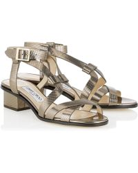 Jimmy Choo Virginia Metallic Leather Cage Sandals - Lyst