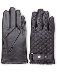 Joseph Abboud Black Quilted Leather Gloves - Lyst