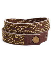 Frye - 'campus Stitch' Leather Wrap Bracelet - Walnut - Lyst