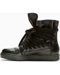 e6fde97483 Kris Van Assche - Black Leather Hi-Top Trainers - Lyst