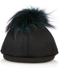 Fendi Fur Pompom Baseball Cap - Lyst