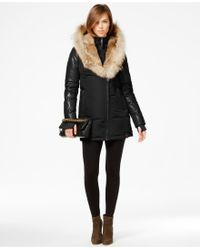 Rudsak - Grace Coyote & Rabbit-fur-trim Leather-sleeve Parka - Lyst