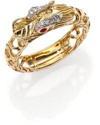 John Hardy Naga Ruby Diamond Sterling Silver  18k Yellow Gold Dragon Ring - Lyst