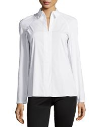 Theory Bida Luxe Zip-Front Blouse - Lyst