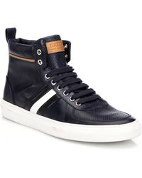 Bally Perforated Leather High-Top Sneakers - Lyst