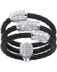 Charriol 3-row Diamond-station Cable Ring black - Lyst