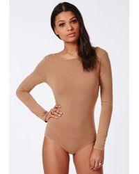 Missguided Open Back Bodysuit Camel - Lyst