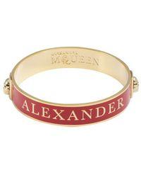 Alexander McQueen Red and Gold Enamel Logo Skull Bangle - Lyst