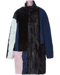 Jo No Fui - Colorblocked Wool Shearling And Kid Lamb Fur Overcoat - Lyst
