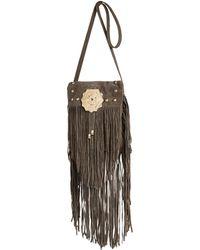 River Island Khaki Leather Studded Fringed Cross Body Bag - Lyst