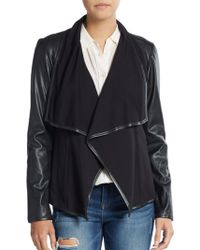 Saks Fifth Avenue Black Label - Ponte & Faux Leather Jacket - Lyst