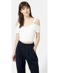 Topshop Cold Shoulder Crop Top - Lyst