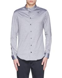Armani Mandarin Collar Jersey Shirt - Lyst